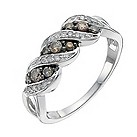 Sterling silver 1/3 carat natural brown diamond ring - Product number 9915265