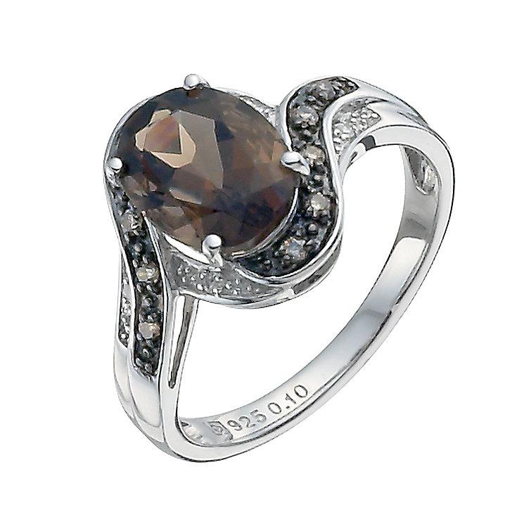 Sterling silver brown diamond, diamond & smoky quartz ring - Product number 9915400
