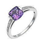 Sterling silver amethyst & diamond solitaire ring - Product number 9915710