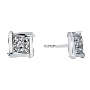 Sterling silver square frame 10 point diamond stud earrings - Product number 9915990