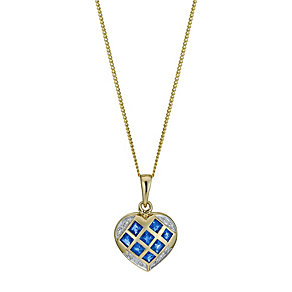 9ct yellow gold sapphire & diamond heart pendant - Product number 9916075