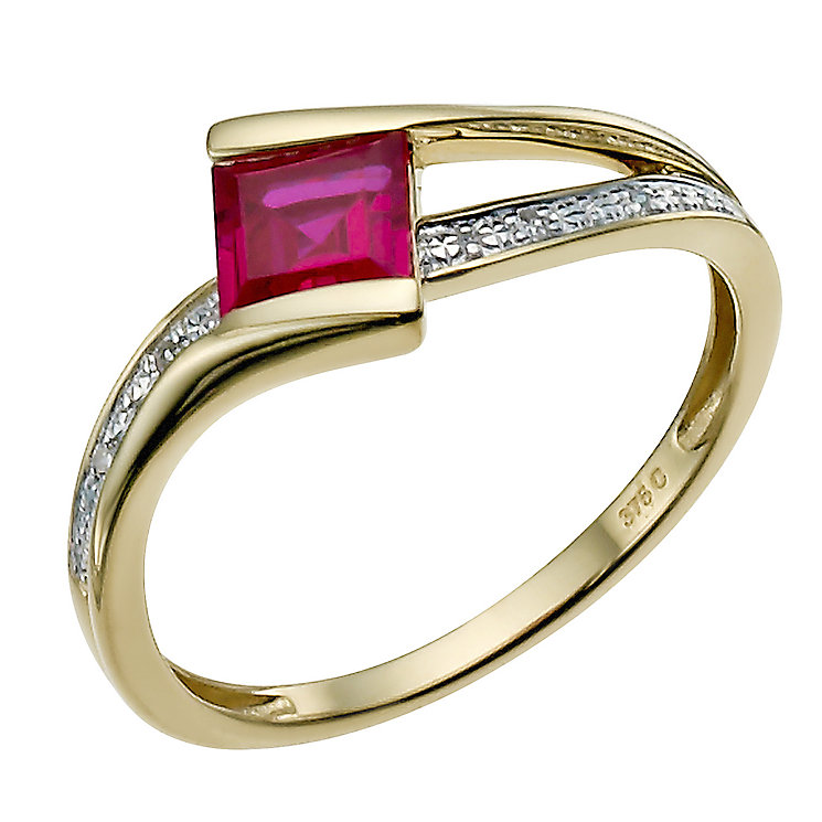 9ct yellow gold diamond & created ruby ring - Product number 9916083