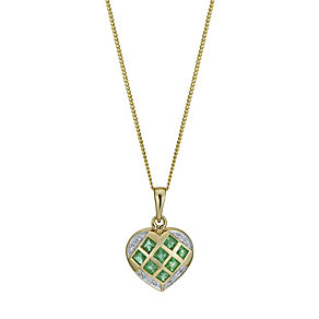 9ct yellow gold emerald & diamond heart pendant - Product number 9916210