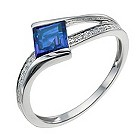 9ct white gold diamond & created sapphire ring - Product number 9916245
