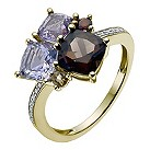 9ct yellow gold multicolour gem & diamond cluster ring - Product number 9916385