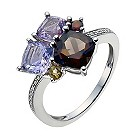 9ct white gold multicolour gem & diamond cluster ring - Product number 9916512
