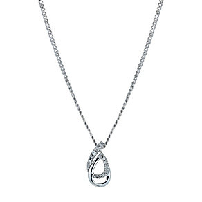 Sterling silver diamond double link teardrop pendant - Product number 9916687