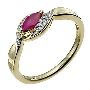 9ct yellow gold ruby & diamond ring - Product number 9916695