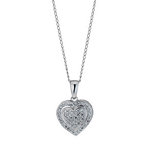 9ct white gold 0.20ct diamond heart pendant necklace - Product number 9916822
