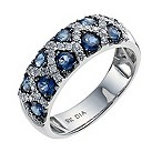 9ct white gold sapphire & diamond fancy ring - Product number 9916830