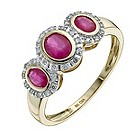 9ct yellow gold treated ruby & diamond three stone ring