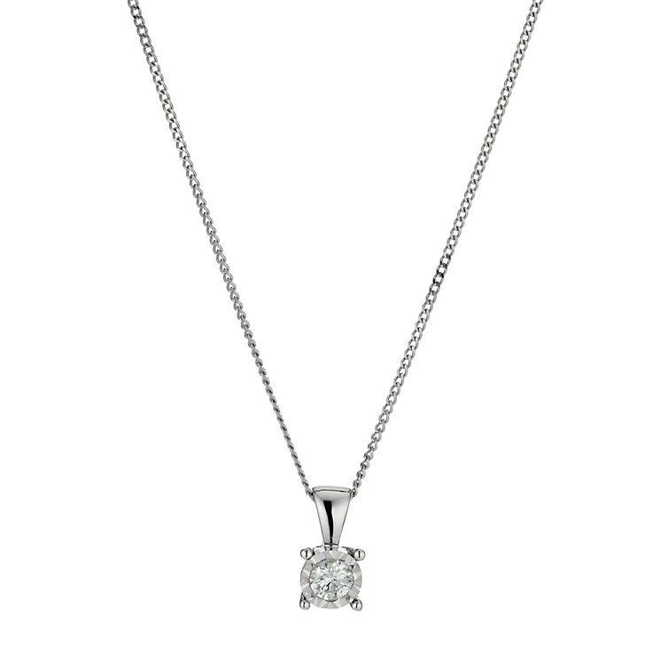 9ct white gold 15 point diamond solitaire pendant necklace - Product number 9917179