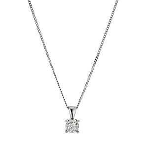 9ct white gold 1/5 point solitaire pendant necklace - Product number 9917187