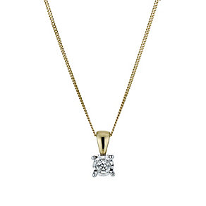 9ct yellow gold 10 point illusion diamond solitaire pendant - Product number 9917217