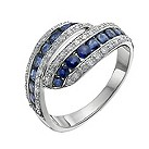 9ct white gold sapphire & diamond eternity ring - Product number 9917241