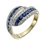 9ct yellow & white gold sapphire & diamond eternity ring - Product number 9917403