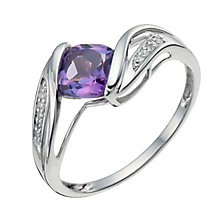 9ct white gold amethyst & diamond fancy ring - Product number 9917667
