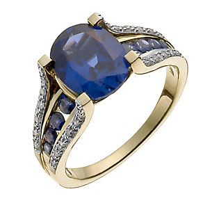 9ct yellow gold 12 point diamond & created sapphire ring - Product number 9917799