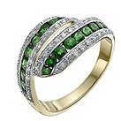 9ct yellow & white gold emerald & diamond eternity ring - Product number 9918051