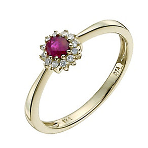 9ct yellow gold ruby & round diamond cluster ring - Product number 9918310