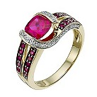 9ct yellow & white gold diamond & created ruby ring - Product number 9918582