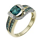 9ct yellow gold diamond & created emerald ring - Product number 9918728