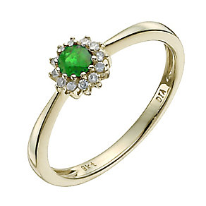 9ct yellow gold emerald & diamond cluster ring - Product number 9918841