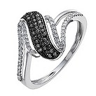 9ct white gold 0.25 ct white & treated black diamond ring - Product number 9918973