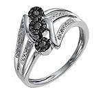 9ct white gold 25 point white & treated black diamond ring - Product number 9919112