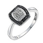 9ct white gold 1/5 carat white & treated black diamond ring - Product number 9919384