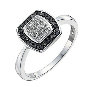 9ct white gold 0.20ct white & treated black diamond ring - Product number 9919384