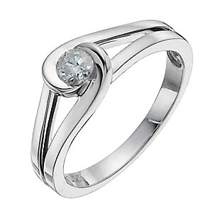 Love's embrace sterling silver 20pt diamond solitaire ring - Product number 9919511