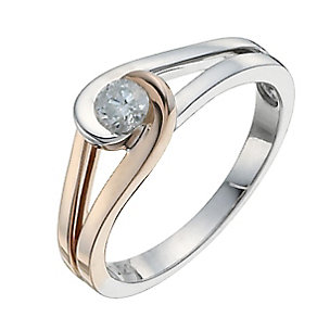 Love's Embrace sterling silver & 9ct rose gold diamond ring - Product number 9919643