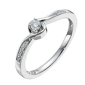 Love's Embrace 9ct white gold diamond solitaire twist ring - Product number 9919902