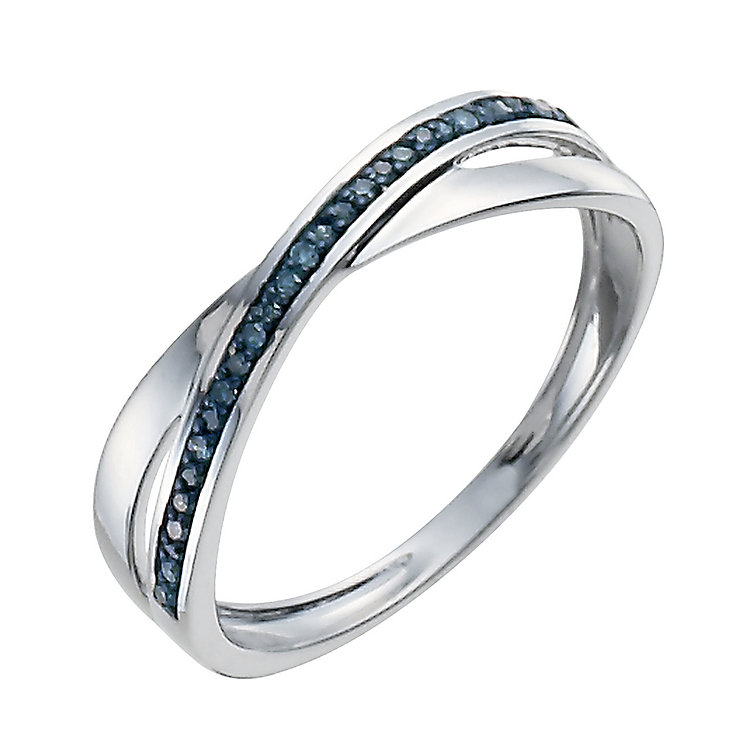 9ct white gold treated blue crossover ring