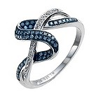 Sterling Silver 1/4 carat white & treated blue diamond ring - Product number 9920579