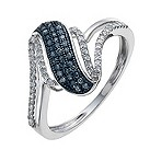 9ct white gold 25 point white & treated blue diamond ring - Product number 9920706