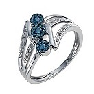 9ct white gold 25 point white & treated blue ring - Product number 9920846