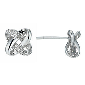Sterling Silver Diamond Knot Earrings - Product number 9920978