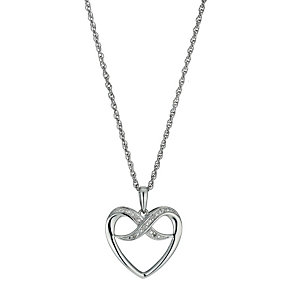 Argentium Silver Diamond Kiss Heart Pendant Necklace - Product number 9920994