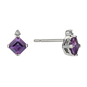 9ct White Gold Amethyst & Diamond Stud Earrings - Product number 9921133