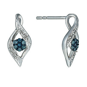 Sterling Silver Diamond & Treated Blue Diamond Earrings - Product number 9921168