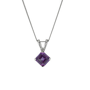 9ct White Gold Amethyst & Diamond Pendant Necklace - Product number 9921176