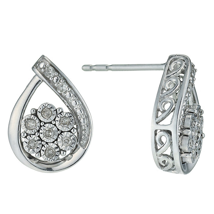 Argentium Silver Illusion Set Diamond Earrings - Product number 9921184