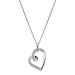 Sterling Silver Diamond Heart Pendant Necklace - Product number 9921206