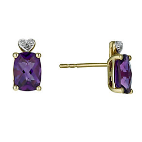 9ct Yellow Gold Diamond & Amethyst Stud Earrings - Product number 9921230