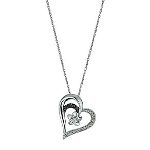 Forget Me Not Sterling Silver Diamond & Sapphire Pendant - Product number 9921281
