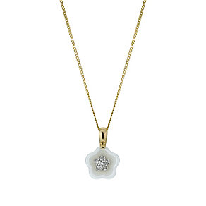 9ct Yellow Gold & White Ceramic Diamond Flower Pendant - Product number 9921362