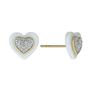 White Ceramic & 9ct Yellow Gold Diamond Heart Stud Earrings - Product number 9921427
