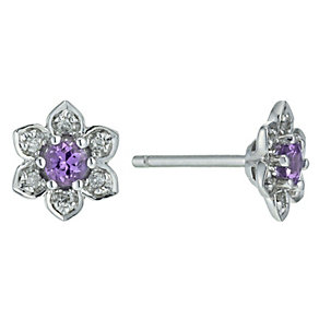 Sterling Silver Diamond & Pink Sapphire Flower Earrings - Product number 9921451